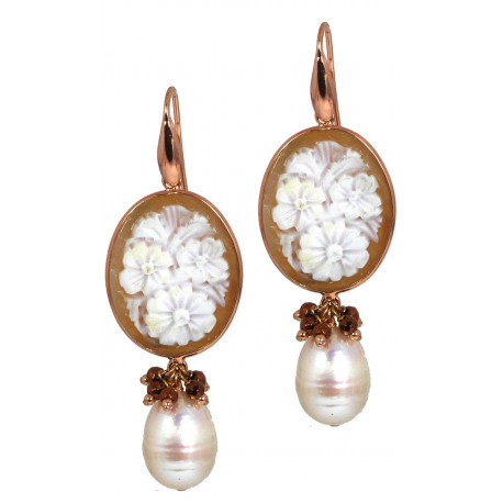 Earrings fresh water pearls, cameos and bronze agate
