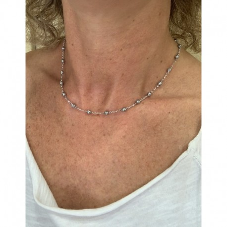 Minimal choker with rhodiated agate and 925 rhodiated silver chain