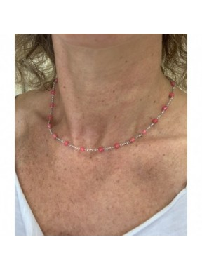 Minimal choker with red quartz and 925 rhodiated silver chain