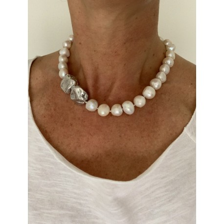 Choker fresh water pearls and silver nuggets