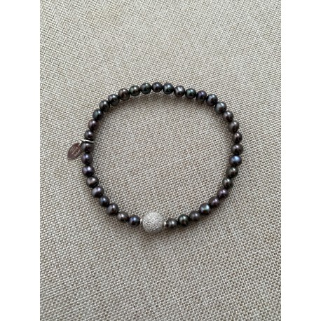 Basic bracelet dark grey pearls with silver ball