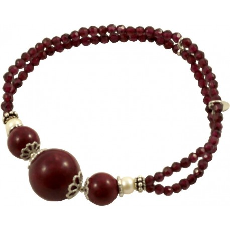bracelet garnet, rhodonite and fresh water pearls