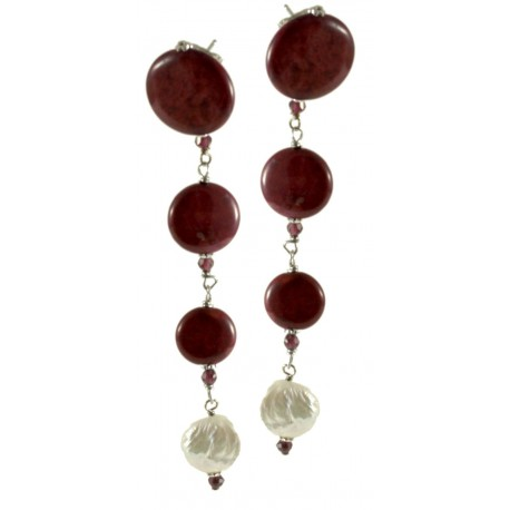 Earrings garnet, rhodonite and fresh water pearls