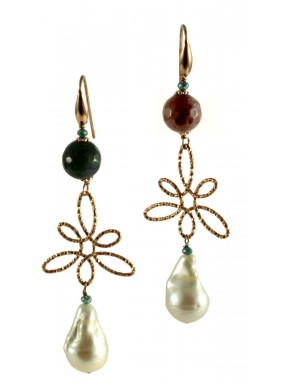 Earrings indian agate, idrothermal quartz and fresh water pearls
