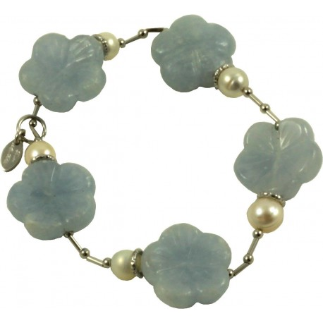 Bracelet light blue calcite flowers