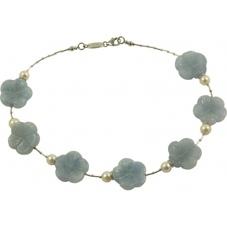Choker light blue calcite flowers and fresh water pearls