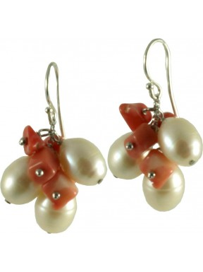 Earrings fresh water pearls and bamboo coral