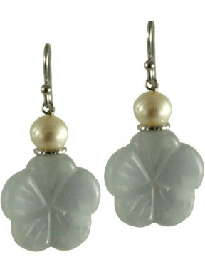Earrings flowers light blue calcite and fresh water pearls