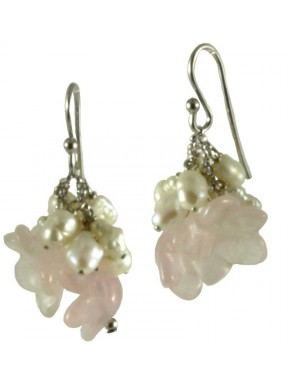 Earrings rose quartz flowers and fresh water pearls