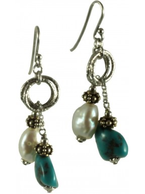 Earrings turquoise and fresh water pearls