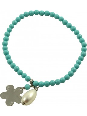 Como Lake bracelet turquoise paste and rhodiated silver