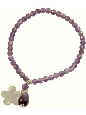 Como Lake bracelet amethyst and rhodiated silver