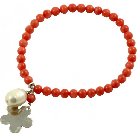Como Lake bracelet bamboo coral and rhodiated silver