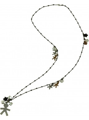 Necklace silver children, fresh water pearls, onix stars, rhodiated and rose gold silver