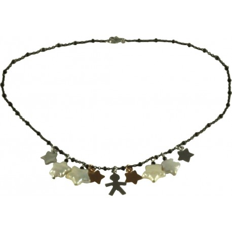 Choker silver children, fresh water pearl stars, rhodiated and rose gold silver