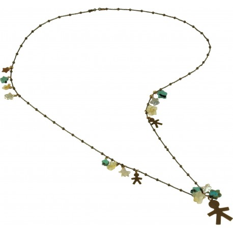 Necklace silver children, fresh water pearl stars, turquoise, citrine quartz flowers and rose gold silver