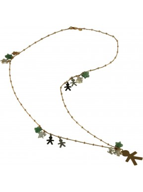 Necklace silver children, fresh water pearl stars, aventurine and rose gold silver