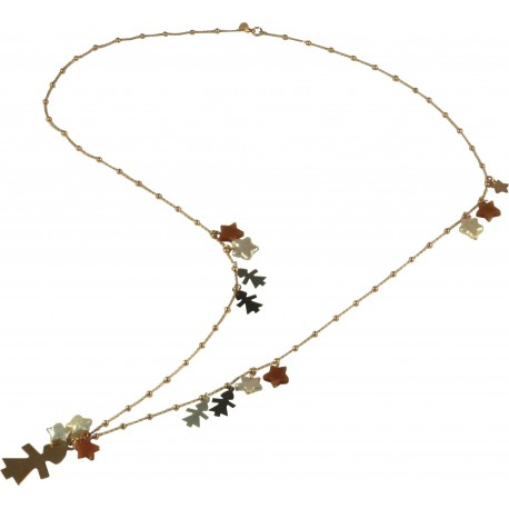 Necklace silver children, fresh water pearl stars, orange aventurine and rose gold silver