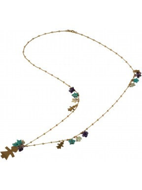 Necklace silver children, fresh water pearl stars, turquoise and rose gold silver with amethyst flowers