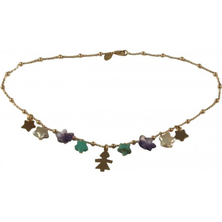 Choker silver children, fresh water pearl stars, turquoise and rose gold silver with amethyst flowers