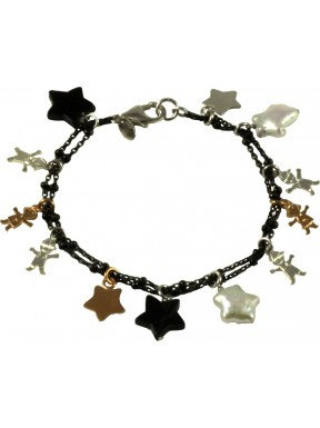 Bracelet rose gold and rhodiated silver children, fresh water pearl stars and onix