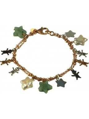 Bracelet rose gold and rhodiated silver children, fresh water pearl stars and aventurine