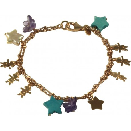 Bracelet rose gold silver children, fresh water pearl stars, turquoise and amethyst flowers