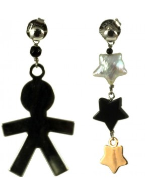 Earrings black rhodiated silver child, onix stars and fresh water pearl