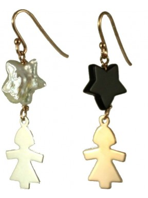 Earrings rose gold and rhodiated silver children, fresh water pearl and onix stars