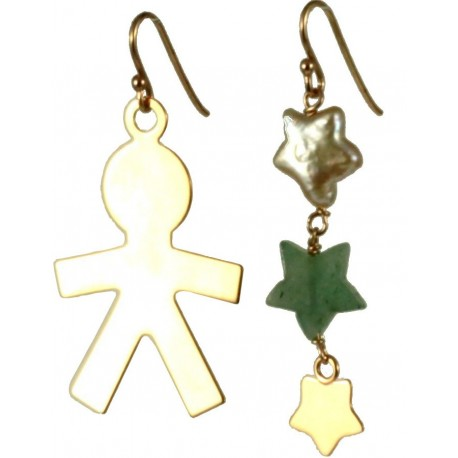 Earrings rose gold silver child, aventurine and fresh water pearl stars