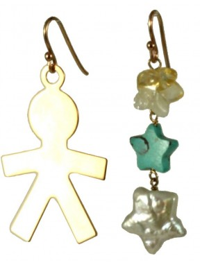Earrings rose gold silver child, turquoise and fresh water pearl stars with citrine quartz flower