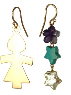 Earrings rose gold silver child, turquoise and fresh water pearl stars with amethyst flower