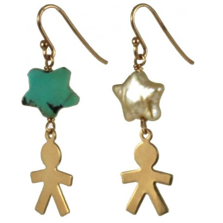 Earrings rose gold silver children, turquoise and fresh water pearl stars