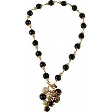 Choker bunch onix and rose fresh water pearls