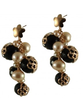 Earrings bunch onix and rose fresh water pearls