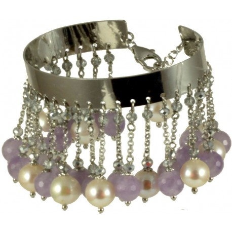 Bracelet amethyst, fresh water pearls and idrothermal quartz