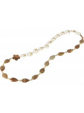 Necklace moonstone drops, rose fresh water pearls and silver flower