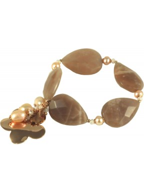 Bracelet moonstone drops, rose fresh water pearls and silver flower