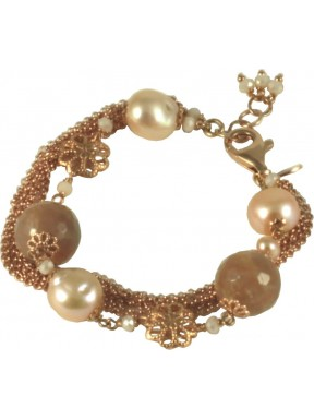 Bracelet moonstone, rose fresh water pearls and silver chain