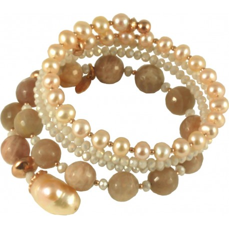 Bracelet spiral-shaped with moonstone, rose fresh water pearls and hydrothermal quartz