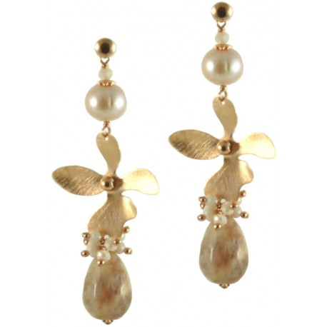 Earrings moonstone drops, rose fresh water pearls and silver helix