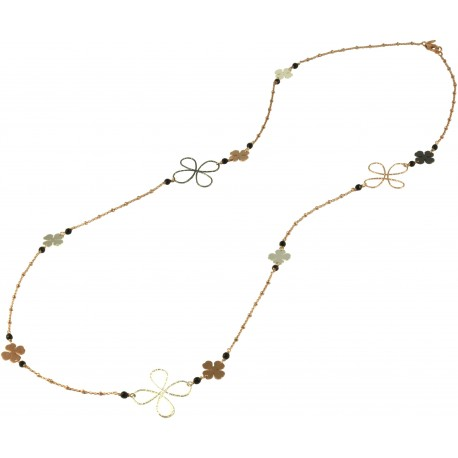 Necklace silver chain and onyx