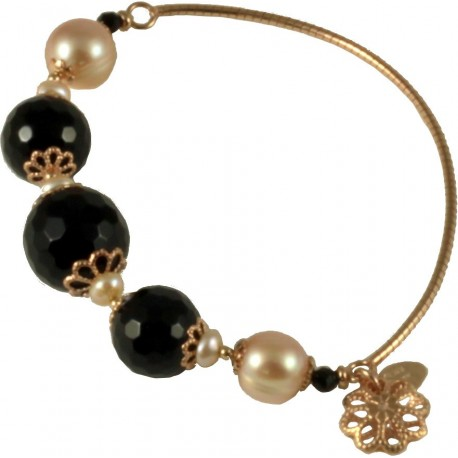 Bracelet onyx, rose fresh water pearls and silver flowers