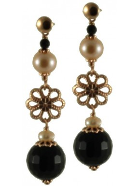 Earrings onyx, rose fresh water pearls and silver flowers