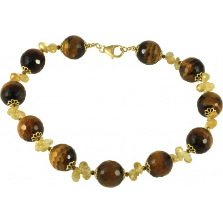Choker faceted round tiger-eye and citrine quartz drops