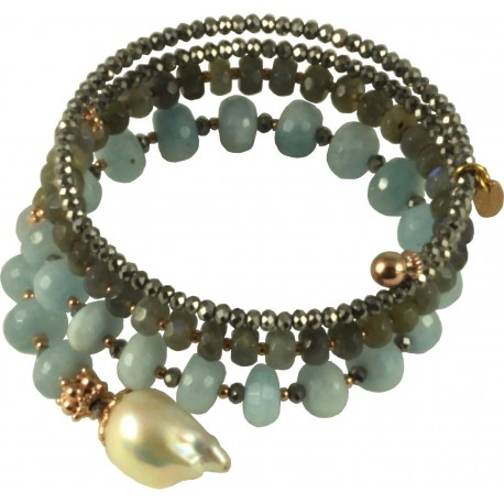 Bracelet spiral-shaped with hydrothermal quartz, aquamarine roundells and fresh water pearls
