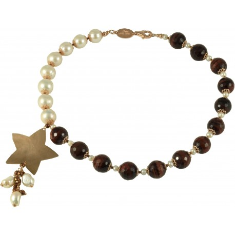 Choker red tiger-eye, fresh water pearls and silver star
