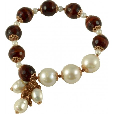 Bracelet red tiger-eye, fresh water pearls and a bunch