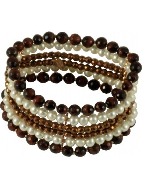 Bracelet red tiger-eye, fresh water pearls and bronze agate