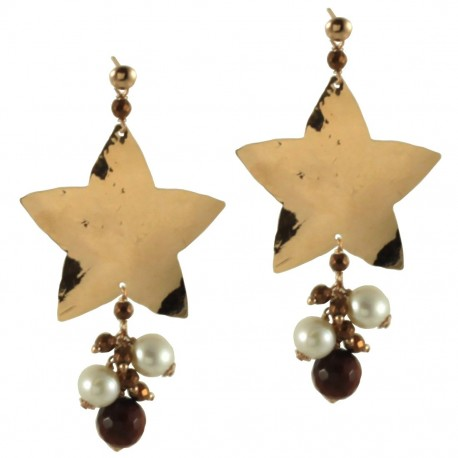 Earrings silver stars, red tiger-eye, fresh water pearls and bronze agate